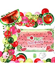 Aboofx Watermelon Party Decoration with Watermelon Backdrop, 90 Pieces Watermelon Balloons Garland Arch Kit for Baby Shower Birthday Summer One in a Melon Party Decorations