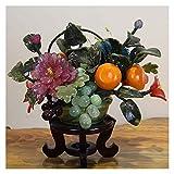 Árbol artificial Bonsai artificial Bonsai Bonsai con flor de jade y cesta de frutas Decoración de la planta falsa - Plantas de la casa artificial en maceta for el Decoración del hogar Planta falsa