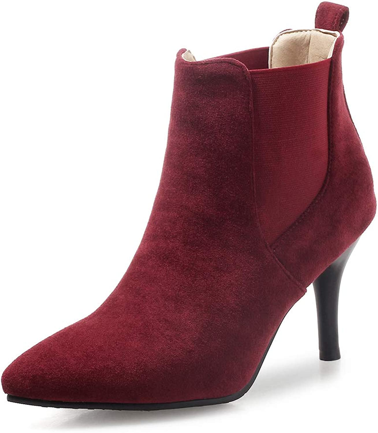 Btrada Women's Closed Pointed Toe Ankle Boots Soft Elastic Low-Cut Slip On Stiletto Booties Autumn Pumps