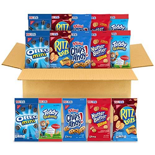 OREO Mini Cookies, CHIPS AHOY! Mini Cookies, Nutter Butter Bites, RITZ Bits Cheese Crackers & Teddy Grahams Cinnamon, 15 Big Bags (3 oz.)