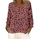 Auifor Floja Ocasional de Las Mujeres de Manga Larga de Cuello Redondo Leopard Hombro Inclinado de Gran tamaño Cuello Redondo Camiseta de la impresión Top(Naranja/XX-Large)
