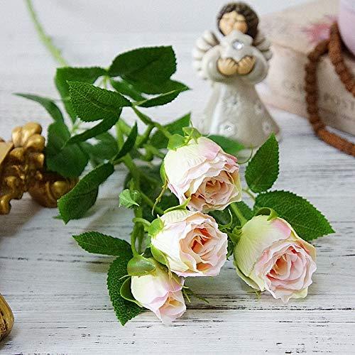 QWERTYU 4 Hoofden Kunstbloemen Lange Stem Bruiloft Decoratie Zijde Rose Nep Bloemen Kunststof Takken met Bladeren Home Hotel Decor LIJIANME