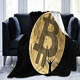 HUAYEXI Manta de Franela Suave,Figura Humana Moon Bitcoin Sign,Cama de Camping para sofá 204x153cm