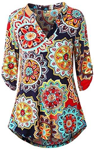 XGBDTJ Damen Blumendruck Bluse Elegant Langarm T Shirt Boho Oberteil Lose Ethno...