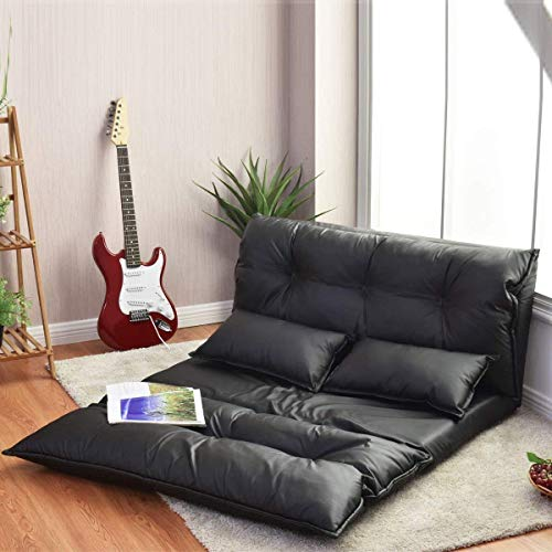 COSTWAY Double Folding Sofa Bed with 2 Pillows, 5-Position Adjustable Lounger Sleeper Seat Chair, Protable Lazy Couch PU Leather Large Guest Bed for Home Bedroom Living Room Office Indoor