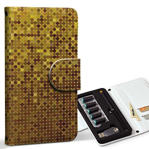 スマコレ ploom TECH プルームテック 専用 レザーケース 手帳型 タバコ ケース カバー 合皮 ケース カバー 収納 プルームケース デザイン 革 クール その他 ゴールド ギラギラ 001939