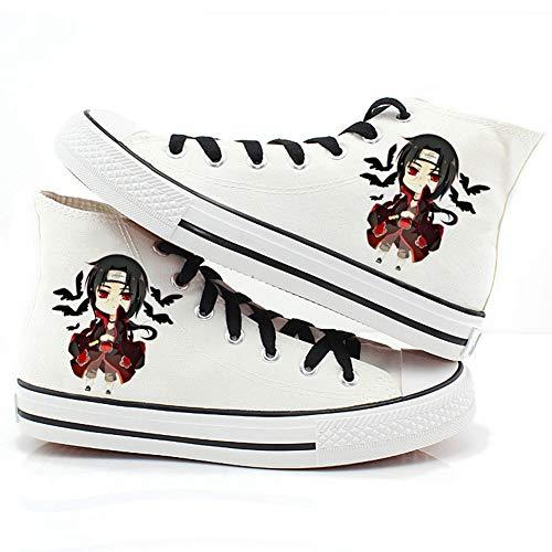 Csqw Naruto Naruto Uchiha High Top Blanco Zapatillas de Lona para Zapatillas de Deporte Unisex para niños y Adolescentes Zapatillas de cosplay-36