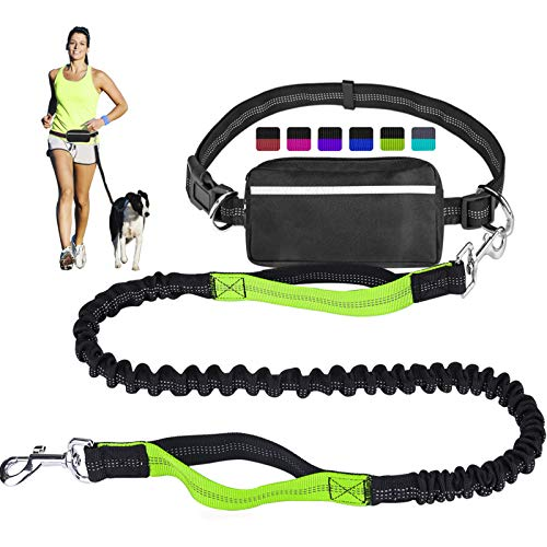 Hands Free Dog Leash for Running Walking Training Hiking DualHandle Reflective Bungee Poop Bag Dispenser Pouch Adjustable Waist Belt Shock Absorbing Ideal for Medium to Large Dogs Black/Green