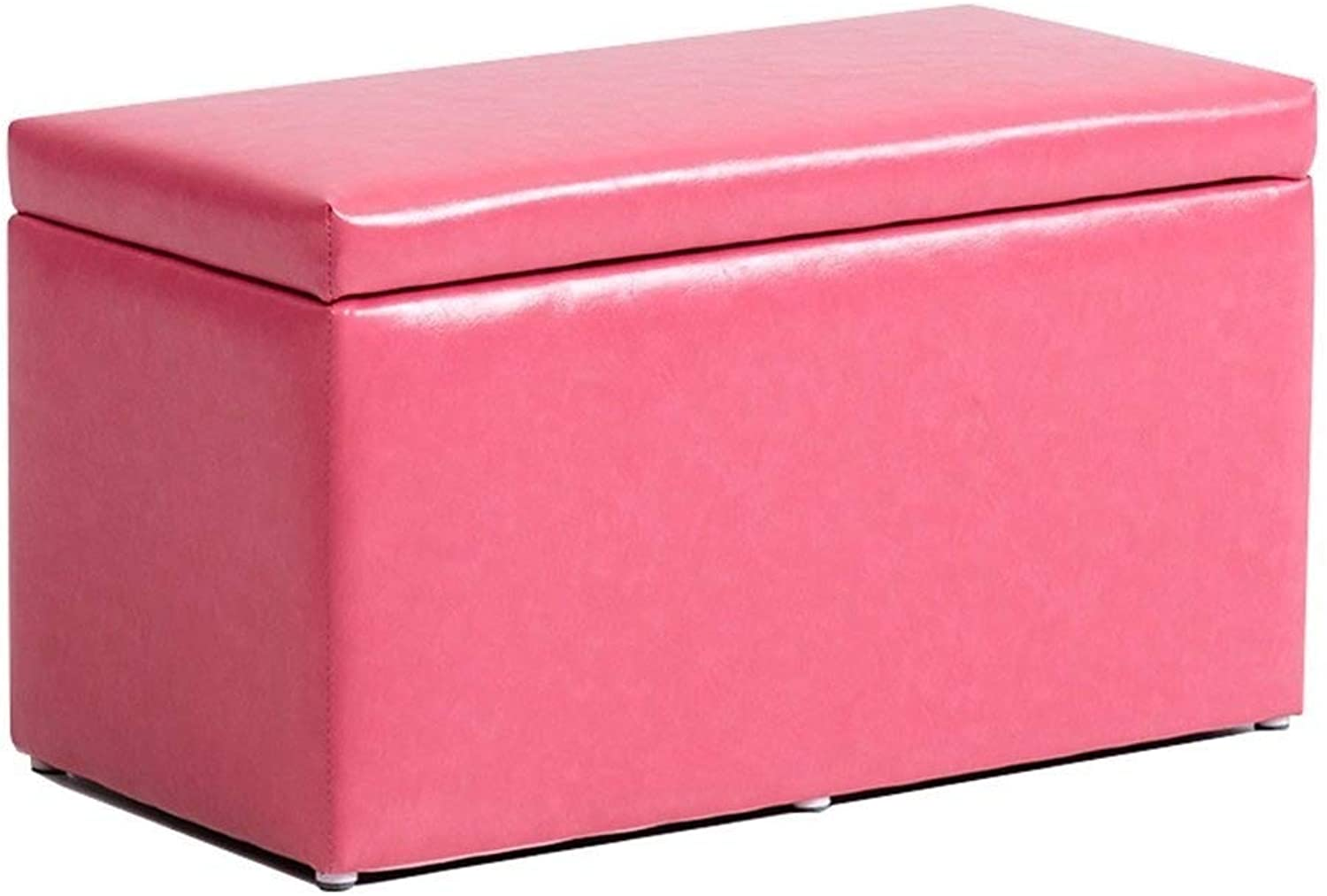 Change shoes Stool Storage Chest Toy Box Removable Cover Portable Seat Upholstered Stool Versatile Space-Saving Cubes HENGXIAO (color   Pink)