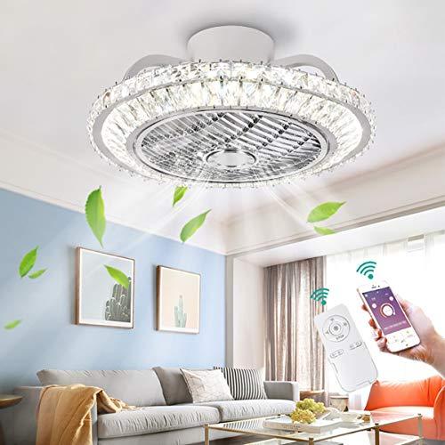 YUNZI Luxus Kristall Deckenventilator mit Beleuchtung LED 72W Dimmen mit Fernbedienung und APP, Deckenleuchten Dimmbar Deckenventilatorlampe zum Schlafzimmer Wohnzimmer Dekoration Deckenleuchte,50c