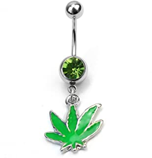 Ecloud Shopョ Green Maple Leaf Dangle Belly Ball Rhinestone Body Piercing Jewelry