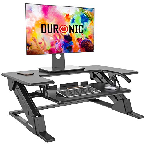 Duronic Sit-Stand Desk DM05D21 | Height Adjustable Office Workstation | 90x52cm Platform | Raises...