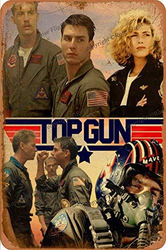 Top Gun Cartel de chapa vintage, cartel de cartel de metal, placa de pintura de hierro retro, decoración de pared artística, 12 × 8 pulgadas