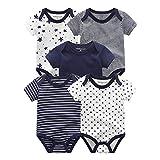 Kiddiezoom Baby-Body, Hose, Kleinkinder-Einteiler, Bekleidungs-Sets für Jungen und Mädchen aus Baumwolle, Mützen, Kratzfäustlinge Gr. 80, 5er-Pack Navy Sea Bodysuits