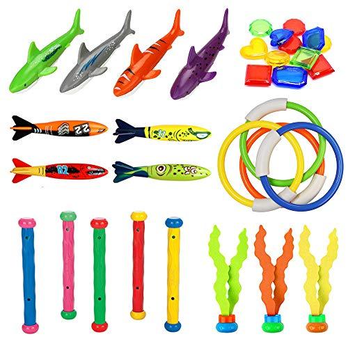 MonQi 28Stk Tauchspielzeug - Unterwasser Schwimmbad Spielzeug, Tauchringe*4,Toypedo Bandits*4, Tauchen Algen *3, Tauchsticks*5, Tauch Edelsteine *8, Hai *4