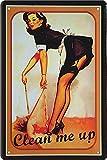 Cartel de chapa Pin Up Pinup 'Clean me up' Hot Sexy Girl Deko Werkstatt Metal Cartel Retro Vintage Cartel regalo de cumpleaños o Navidad cocina 20 x 30 cm
