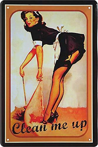 """Cartel de chapa Pin Up Pinup """"Clean me up"""" Hot Sexy Girl Deko Werkstatt Metal Cartel Retro Vintage Cartel regalo de cumpleaños o Navidad cocina 20 x 30 cm"""