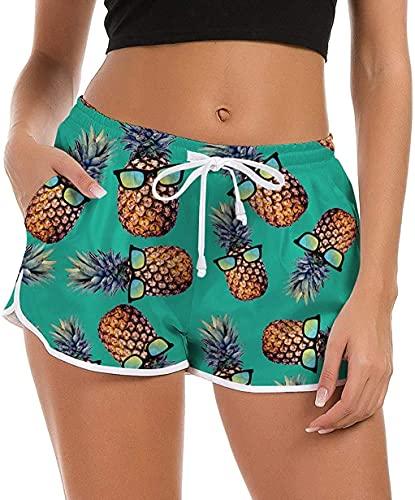Women's Funny Pineapple Swim Shorts Novelty Elastic Waist Boardshorts Swimwear Bottom Green Bathing Suits Summer Party Beach Wear Active Swim Bottom Trunks Beachrider