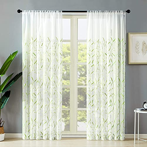 Sheer Curtains Living Room 54x63 Inch Long Green Wheat Spike Embroidered Sheers Curtain Panels Bedroom Leaves Embroidery Rod Pocket Voile Window Treatment 2 Panels