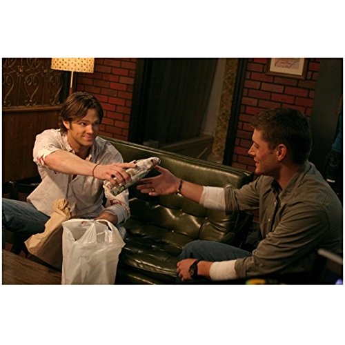 Supernatural Jared Padalecki as Sam Winchester Smiling with Jensen Ackles as Dean Winchester 8 x 10 Inch Photo