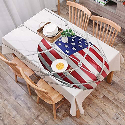 Rechteck Tischdecke140 x 200 cm,Sport-Dekor, USA amerikanische Flagge gedruckt Fußball in einem Net Goa,Couchtisch Tischdecke Gartentischdecke, Mehrweg, Abwaschbar Küchentischabdeckung für Speisetisch