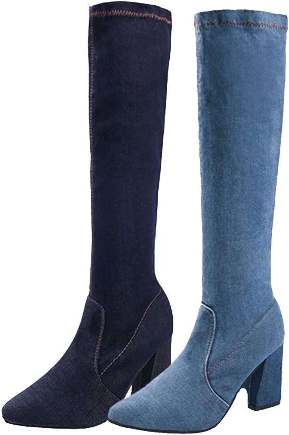 T-JULY Women's Denim Knee High Boots Autumn High Heels for Female Casual Footwear Sewing Mid Calf Botas Thick Heel shoes