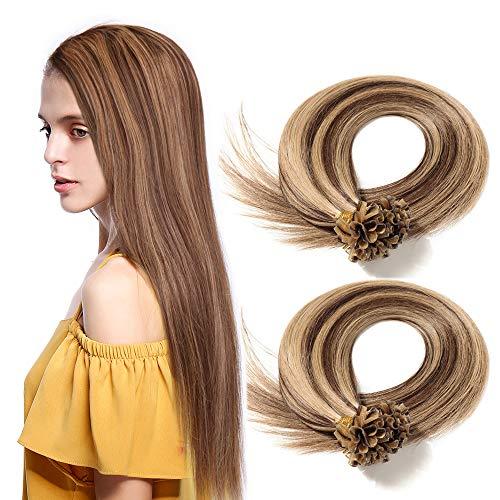 Elailite Extension Capelli Veri Cheratina 1 Grammo Balayage 40cm 100 Ciocche Remy Human Hair Naturali U Tip Nail Keratin 100g #4/27 Marrone Cioccolato/Biondo Scuro