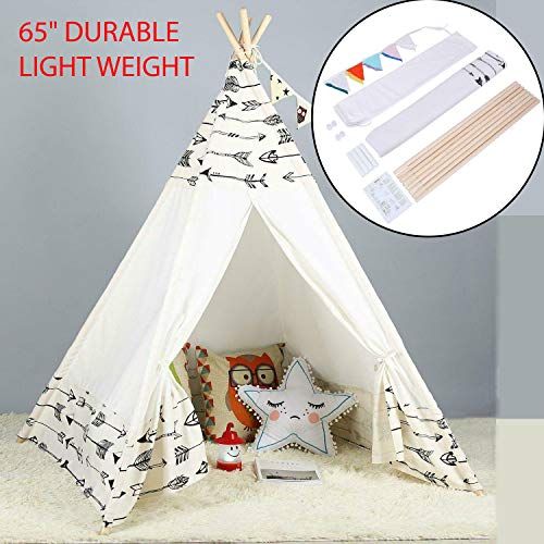 "65"" Durable And Light Weight Large Cotton Canvas Kids Teepee Tent Childrens Wigwam Indoor Outdoor Play House For Sleepover Parties, Baby Showers, Weddings, Birthdays & Beach Parties Best Gift For Kid"