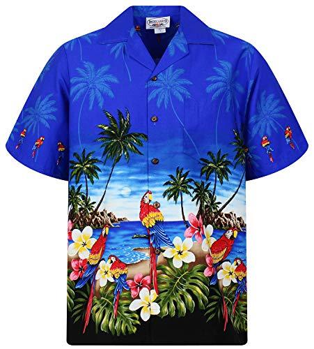 P.L.A. Pacific Legend Original Hawaiihemd, Kurzarm, Papagei Blau mit Schwarz, M
