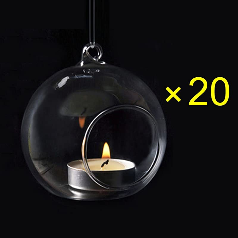 Crystal Glass Hanging Candle Holder Plant Terrarium Candlestick Holder Romantic Home Wedding Dinner Decor Orb Shape1 Diameter 8CM 20PCS