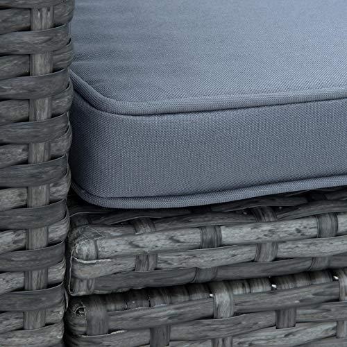 ESTEXO Polyrattan Lounge Set in luxuriöser Optik bestehend aus 1 Couch, 3 Hockern und 1 Tisch, inklusive Sitzpolster, grau - 8