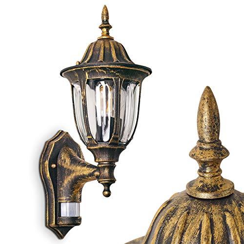 Buiten wandlamp Ribadeo m. Bewegingsmelder, wandlamp naar boven in antieke look, gegoten aluminium in bruin/goud met helder glas, wandlamp voor terras/tuin met E27 aansluiting, max. 60 Watt, retro/vintage