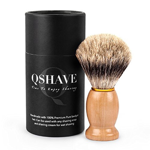 Qshave - Pennello da barba fatto a mano con setole di tasso naturali e pure al 100%, con manico in legno La scelta migliore per una rasatura umida con rasoio a mano libera.