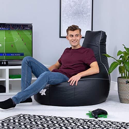 i-eX Puf para Videojuegos, Negro, 91cm x 88cm, Grande, Cuero sintético, Reclinable ergonómico para Videojuegos, Silla para Videojuegos