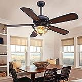 hftd ventilatore da soffitto per uso domestico con luce ventilatore da soffitto con lampada 5 pale in legno reversibili paralume in vetro smerigliato telecomando lampadario a led per camera da le
