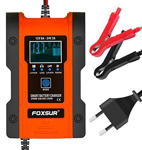 Autobatterie Ladegerät, 12V/6A - 24V/3A Lithium Batterie Ladegerät Batterieladegerät Auto Erhaltungsladegerät mit LCD-Bildschirm Mehrfachschutz für Autobatterie, Motorrad, Rasenmäher oder Boot
