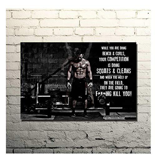 nr Bodybuilding Motivations Leinwand Malerei Kunstdruck Poster Gym Room Decor Fitness Sport Bild Druck auf Leinwand-60x90cm Kein Rahmen