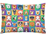 EKOBLA Throw Pillow Cover Dogs Funny Animal Head Poodle Shepherd Terrier Labrador Hound Yorkshire Pet Decor Lumbar Pillow Case Cushion for Sofa Couch Bed Standard Queen Size 20x30 Inch