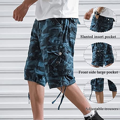 FMSZDSTMDNSDK Short Shorts for Men, Men's Cargo Shorts Fashion Male Shorts Multi-Pocket Casual Outdoors Pants Drop (Color : Army Green, Size : 36)