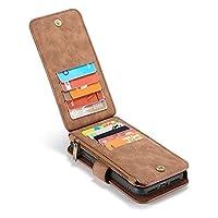 iPhone XR 6.1インチ対応 ケース 財布型 分離可能 14枚カード収納 小銭入れポケット ストラップ付き マグネット式 耐衝撃 おしゃれ PUレザー 多機能 手帳型ケース (ブラウン)