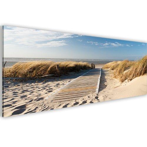 murando Acrylglasbild Meer und Strand 120x40 cm Wandbild auf Acryl Glas Bilder Kunstdruck Moderne Wanddekoration - Landschaft Natur Himmel c-B-0099-k-a