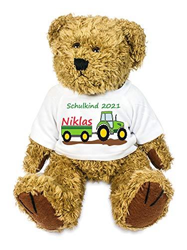 Kilala personalisierter Bär mit Traktor Kuscheltier für die Zuckertüte Schultüte mit Wunschname zur Einschulung Glücksbringer