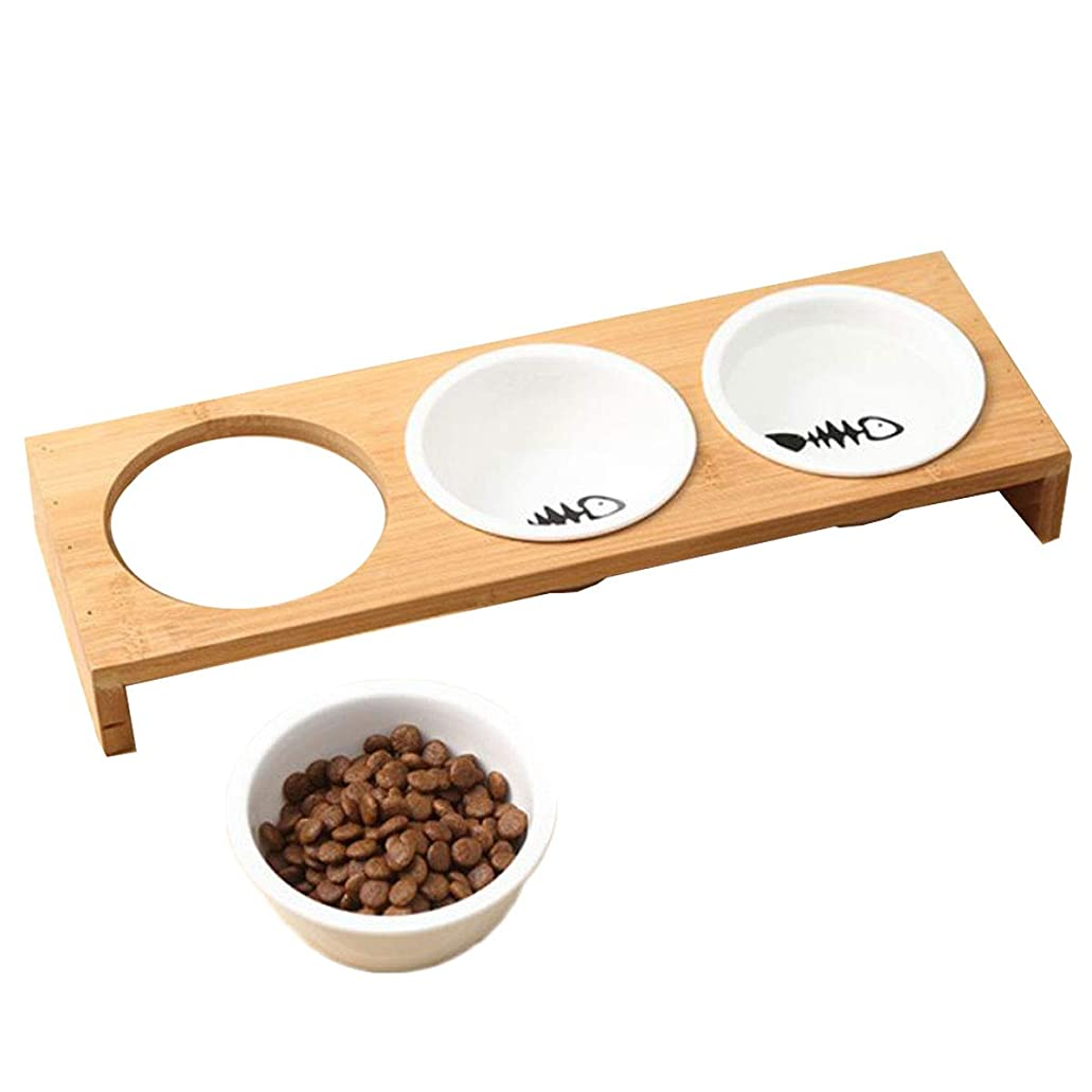 サーキットに行く抗生物質パレード【 食べやすい 】iikuru 猫 食器 可愛い 猫用 餌入れ 水飲み 水入れ 皿 セラミック ねこ 水 えさ 入れ ボウル スタンド 子猫 食器台 セット y284
