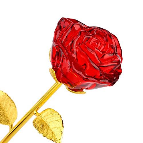 24K chapado en oro rosa, tallo largo Flor artificial Aniversario Cumpleaños Regalo de San Valentín para la Madre/Acción de Gracias/Navidad/San Valentín/Cumpleaños/Graduaciones/Bodas (rojo)