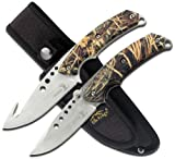 Elk Ridge - Outdoors Hunting Knife Set- 2 PC Fixed Blade and Folding Knife Set, Satin Finished Stainless Steel Blades, Camo Coated Handles, Includes Combo Nylon Sheath - Hunting, Camping, Survival - ER-054CA