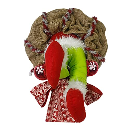 freneci Guirnalda de arpillera navideña Adornos para árboles Colgantes Marco de Guirnalda con Cable Cómo el Grinch robó Guirnalda de arpillera Ladrón Coronas - B