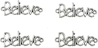 Kinteshun Alloy Believe Inspiring Word Charm Pendant Connector for DIY Jewelry Making Accessaries(30pcs,Antique Silver)