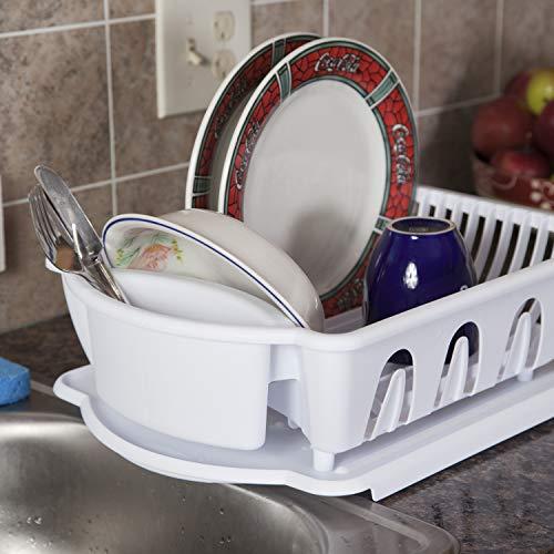 Sterilite 2 Piece Sink Set Dish Drainer, Regular, White
