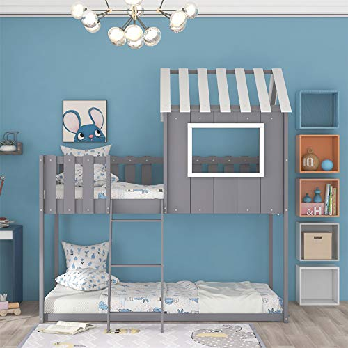 Harper & Bright Designs House Bunk Bed ,Low Bunk Bed Twin Over Twin , Wood Bunk Beds with Rustic Fence-Shaped Guardrail, Toddlers House Bed with Roof ,No Box Spring Needed ,Grey