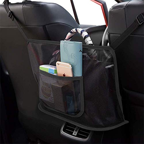 Car Handbag Holder, Leather Seat Back Organizer Mesh Large Capacity Bag, Car Purse Storage & Pocket, Purse Holder for Car, Handbag Holder Between Seats, Cat Dog Barrier (Leather)